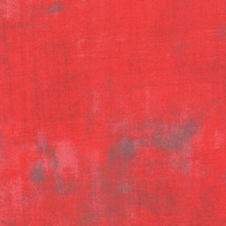 Tissu patchwork faux-uni patiné rouge Géranium - Grunge de Moda