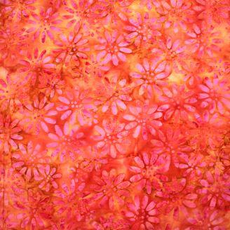 Tissu batik fleurs fuchsia fond rouille