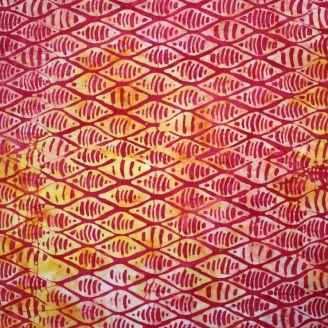 Tissu batik coquillages jaunes fond fuchsia