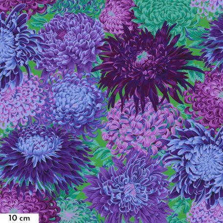Tissu Philip Jacobs chrysanthèmes japonais violets PJ041
