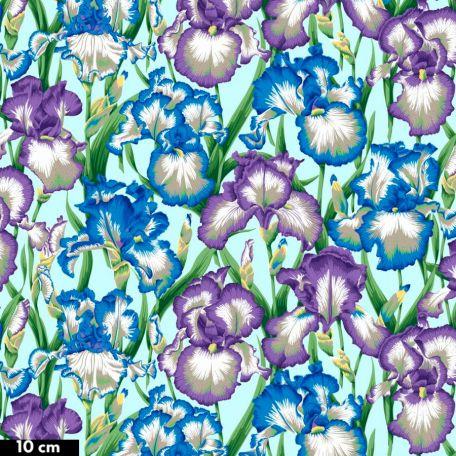 Tissu Philip Jacobs iris bleus et violets PJ105 (Bearded Iris)