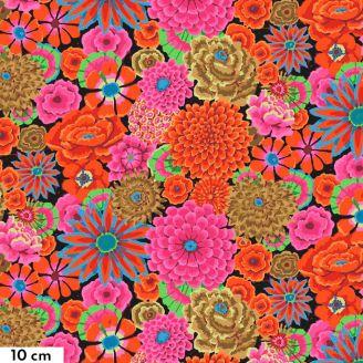Tissu Kaffe Fassett grandes fleurs Enchanted oranges et roses fond noir GP172