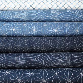 6 coupons de tissus patchworks bleus - Sashiko