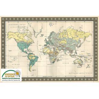 Carte du monde rétro en tissu patchwork - Old school map