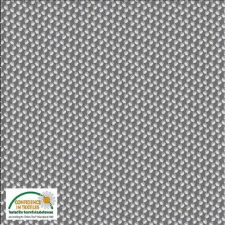 Tissu patchwork fleurettes fond gris argent