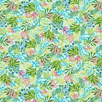 Tissu patchwork plantes aquatiques fond bleu clair - Blooming Ocean