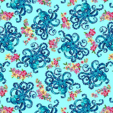 Tissu patchwork pieuvres fond bleu turquoise - Blooming Ocean