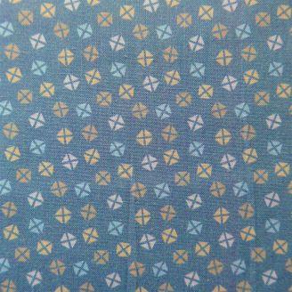 Tissu patchwork imprimé motifs géométriques fond bleu gris