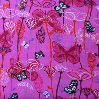 Tissu patchwork imprimé jardin rose