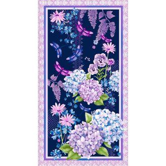 Panneau de tissu patchwork hortensias - Midnight Hydrangea