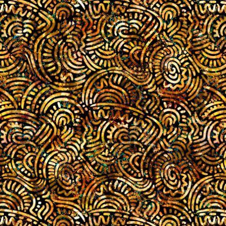 Tissu patchwork fossiles marron - Prehistoric