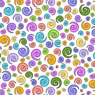 Tissu patchwork spirales colorées fond blanc - Festival