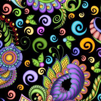 Tissu patchwork doodling coloré - Festival