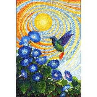 Panneau de tissu patchwork colibri et belles-de-jour - Dreamscapes