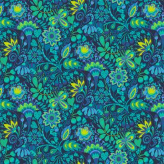 Tissu patchwork brassée de fleurs vertes fond marine - Solstice