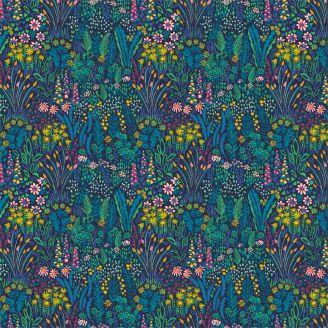 Tissu patchwork champ de fleurs fond marine - Solstice