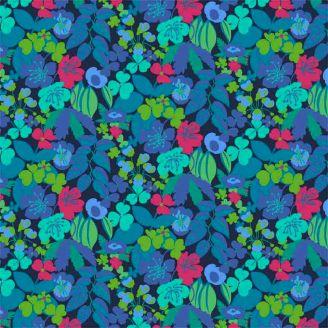 Tissu patchwork parterre de fleurs fond marine - Solstice