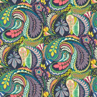 Tissu patchwork grand motif cachemire multicolore fond marine - Solstice