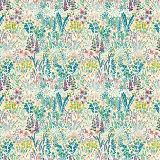 Tissu patchwork champ de fleurs fond écru - Solstice