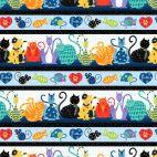 Tissu patchwork frises de chats et souris multicolores - Feeline good