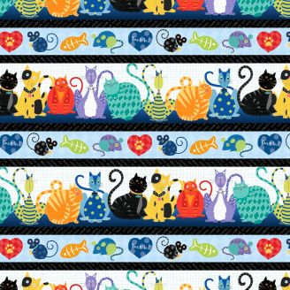 Tissu patchwork frises de chats et souris multicolores - Feeline good