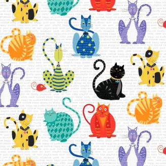 Tissu patchwork gros chats multicolores fond blanc écritures - Feeline good