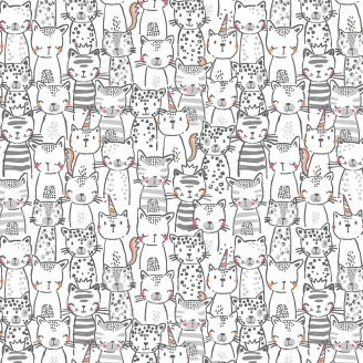 Tissu patchwork chats espiègles gris fond blanc - Meowlogical