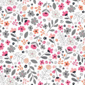 Tissu patchwork fleurs et pattes de chats fond blanc - Meowlogical