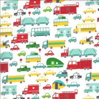 Tissu patchwork camions d'enfants - On The Go