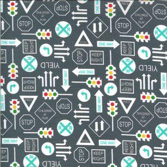 Tissu patchwork panneaux de signalisation - On The Go