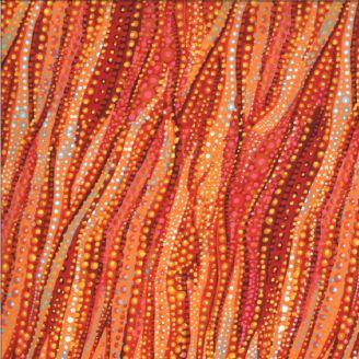 Tissu patchwork mouvements de l'eau rouge - Dreamscapes