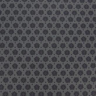 Tissu patchwork imprimé fleurs en ton sur ton gris foncé