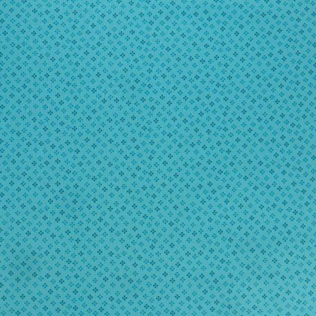 Tissu patchwork imprimé minis trèfles bleu cyan