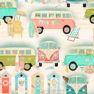 Tissu patchwork camping-cars vintage et cabanes de plage fond sable - Beach Travel