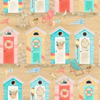 Tissu patchwork cabanes de plage fond sable - Beach Travel