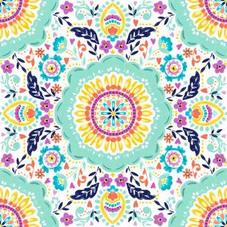 Tissu patchwork carreau peint multicolore fond blanc - Summer Song