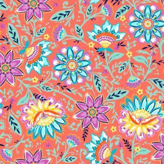 Tissu patchwork fleurs fond pêche - Summer Song