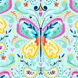 Tissu patchwork papillon bleu - Summer Song