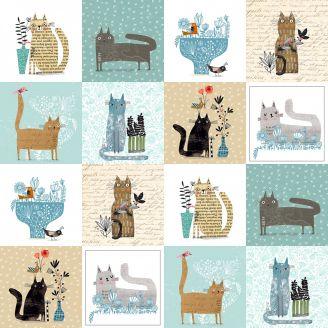 Tissu patchwork grands chats petits panneaux de chats - It's raining cats and dogs