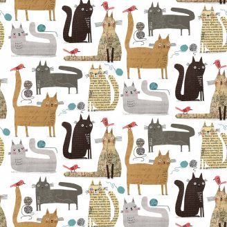 Tissu patchwork chats fond blanc - It's raining cats and dogs