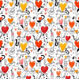 Tissu patchwork chats noirs et blancs et petits coeurs- It's raining cats and dogs
