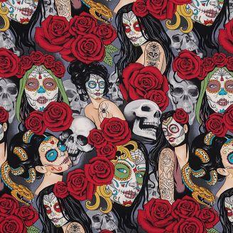 Tissu patchwork têtes de mort, maquillage mexicain et roses rouges