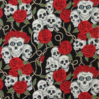 """Tissu patchwork têtes de mort et roses fond noir """"The rose tatoo"""""""