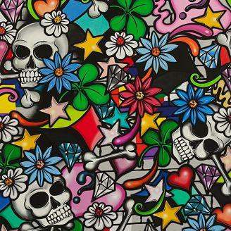 Tissu patchwork têtes de mort et street art