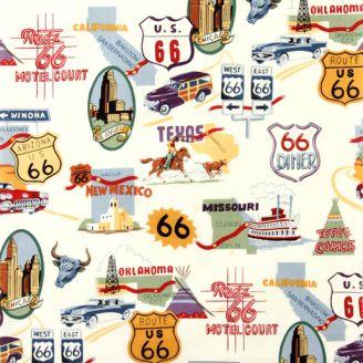 Tissu patchwork route 66 fond écru