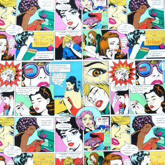 Tissu patchwork comics vintage chagrins de couturières