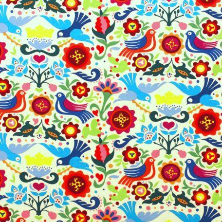 Tissu patchwork colombe folk multico fond écru