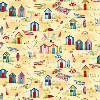 Tissu patchwork scène cabane de plage fond sable