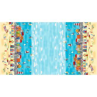 Tissu patchwork double bordures scène de bord de mer
