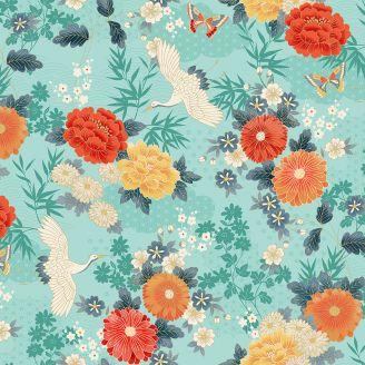 Tissu patchwork grue japonaise et fleurs fond turquoise - Michiko
